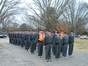 SHP cadets at attention